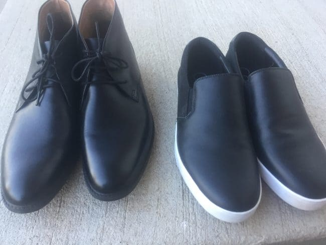 Mens chukka boots and fashion tennis shoes in black for a capsule wardrobe.